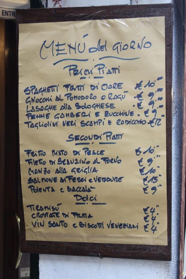 Typical osteria menu