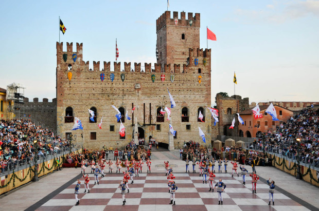 Main square of Marostica, with live chess game
