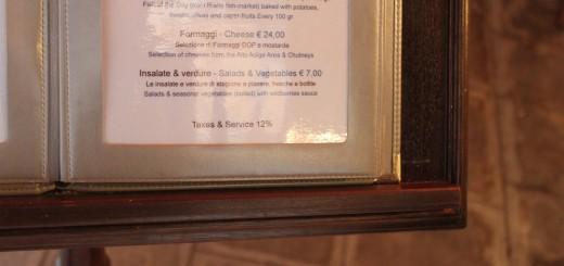 How to carefully read an Italian menu