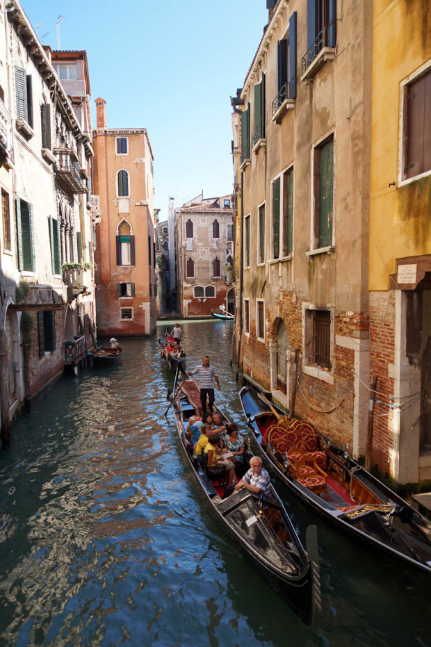 Gondolas can fit in very narrow canals