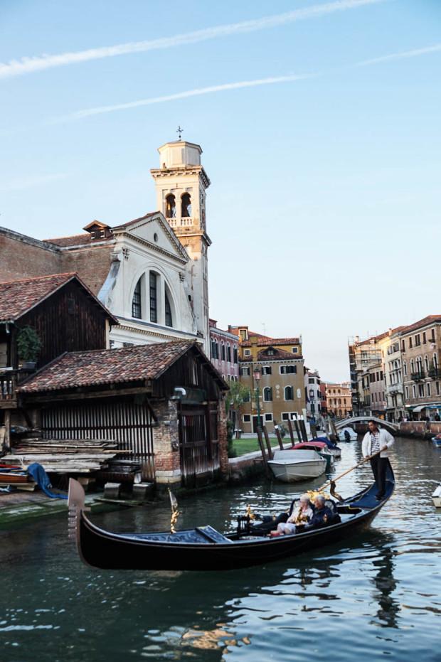 Oaring a gondola